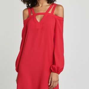 BCBG Off the Shoulder Dress - Weiss / Red Berry